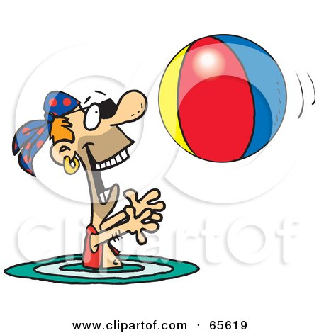 Royalty-Free (RF) Clipart Illustration of a Pirate Guy Swimming And Playing With A Beach Ball - Version 1 by Dennis Holmes Designs