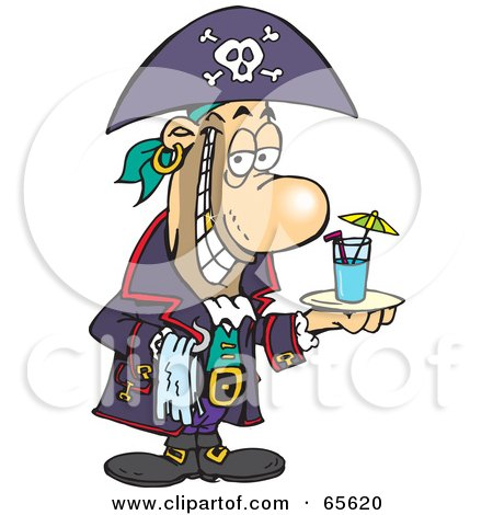 Royalty-Free (RF) Clipart Illustration of a Pirate Guy Serving A Cocktail by Dennis Holmes Designs