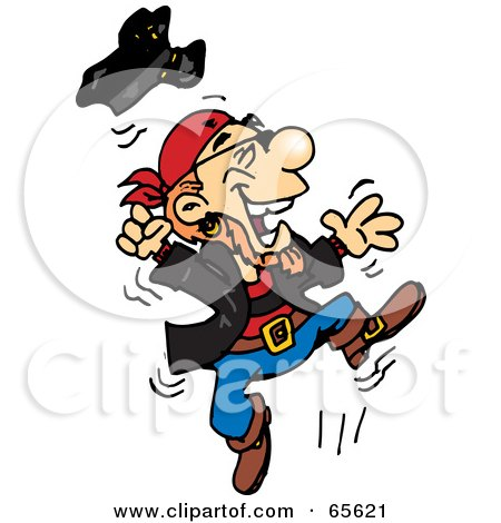 Royalty-Free (RF) Clipart Illustration of a Pirate Guy Jumping by Dennis Holmes Designs