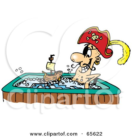 Royalty-Free (RF) Clipart Illustration of a Pirate Guy Playing With A Boat And Soaking In A Hot Tub by Dennis Holmes Designs