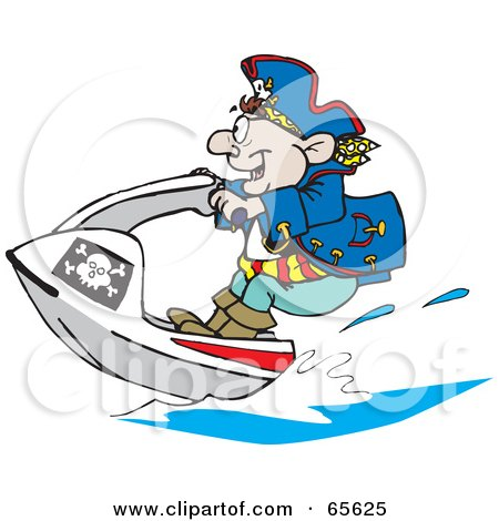 Royalty-Free (RF) Clipart Illustration of a Pirate Guy Jet Skiing by Dennis Holmes Designs