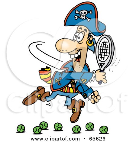Royalty-Free (RF) Clipart Illustration of a Pirate Guy Playing Tennis - Version 2 by Dennis Holmes Designs