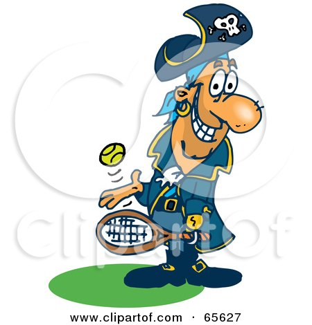 Royalty-Free (RF) Clipart Illustration of a Pirate Guy Playing Tennis - Version 3 by Dennis Holmes Designs