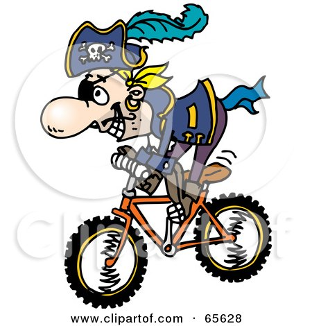 Royalty-Free (RF) Clipart Illustration of a Pirate Guy Riding A Bike - Version 2 by Dennis Holmes Designs