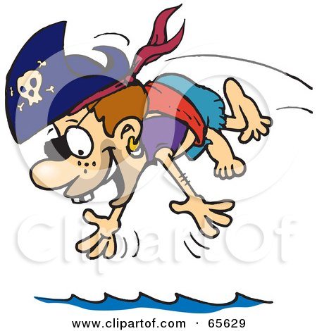 Royalty-Free (RF) Clipart Illustration of a Pirate Kid Diving by Dennis Holmes Designs