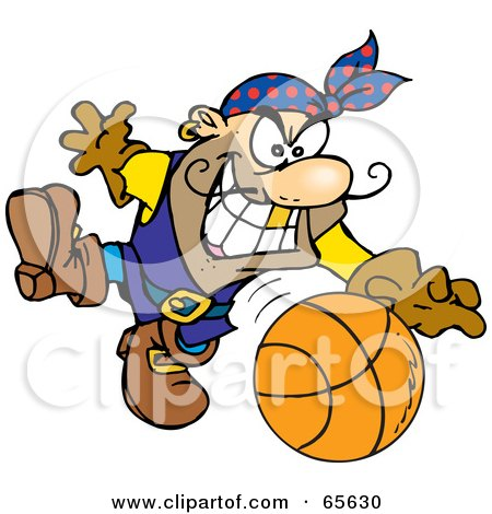 Royalty-Free (RF) Clipart Illustration of a Pirate Guy Playing Basketball by Dennis Holmes Designs
