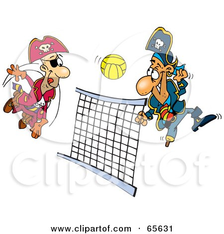 Royalty-Free (RF) Clipart Illustration of Pirate Guys Playing Volleyball by Dennis Holmes Designs