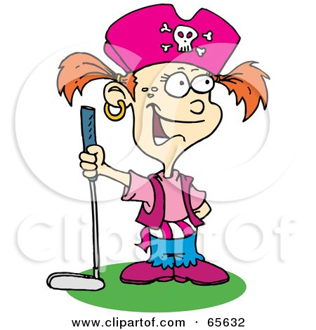Royalty-Free (RF) Clipart Illustration of a Pirate Girl Golfing by Dennis Holmes Designs