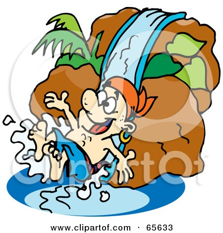 Royalty-Free (RF) Clipart Illustration of a Pirate Guy Going Down A Water Slide by Dennis Holmes Designs