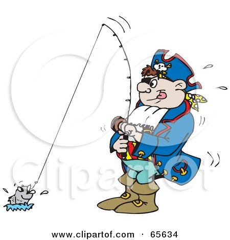 Royalty-Free (RF) Clipart Illustration of a Pirate Guy Fishing by Dennis Holmes Designs