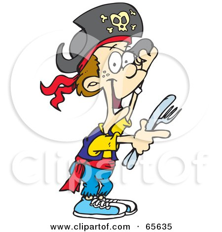 Royalty-Free (RF) Clipart Illustration of a Pirate Boy Holding A Knife And Fork by Dennis Holmes Designs