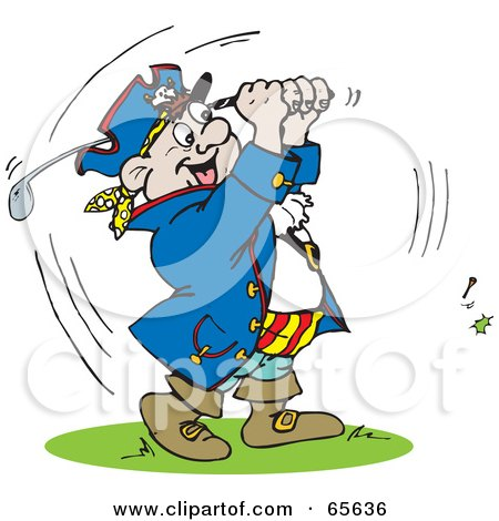 Royalty-Free (RF) Clipart Illustration of a Pirate Guy Golfing - Version 1 by Dennis Holmes Designs