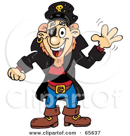Royalty-Free (RF) Clipart Illustration of a Pirate Guy Waving by Dennis Holmes Designs