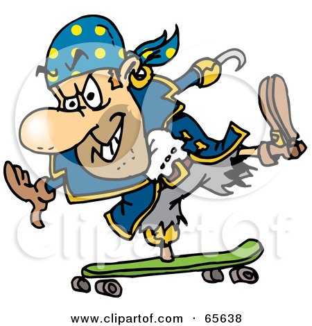 Royalty-Free (RF) Clipart Illustration of a Pirate Guy Skateboarding - Version 2 by Dennis Holmes Designs