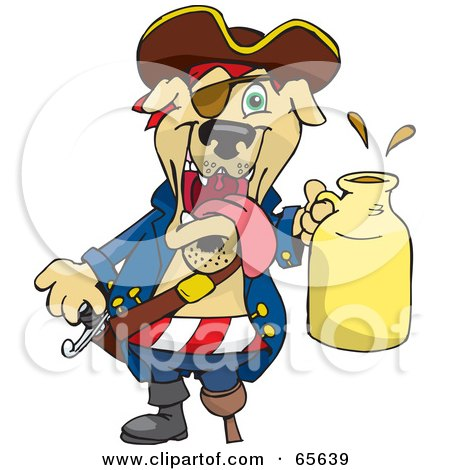 Royalty-Free (RF) Clipart Illustration of a Pirate Dog Holding A Beer Jug by Dennis Holmes Designs