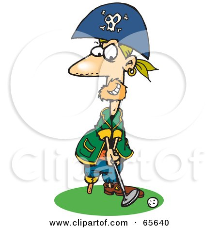 Royalty-Free (RF) Clipart Illustration of a Pirate Guy Golfing - Version 2 by Dennis Holmes Designs