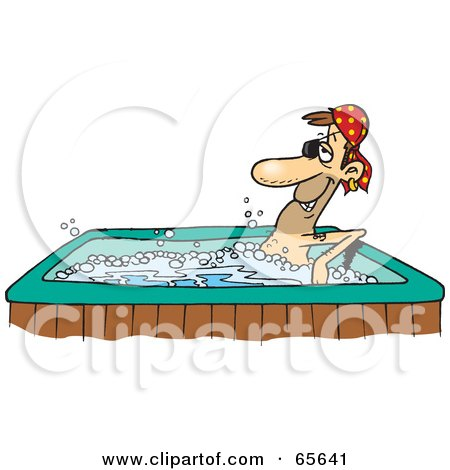 Royalty-Free (RF) Clipart Illustration of a Pirate Guy Soaking In A Hot Tub by Dennis Holmes Designs
