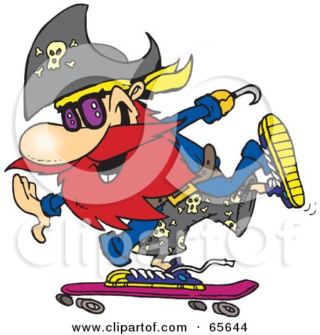 Royalty-Free (RF) Clipart Illustration of a Pirate Guy Skateboarding - Version 1 by Dennis Holmes Designs