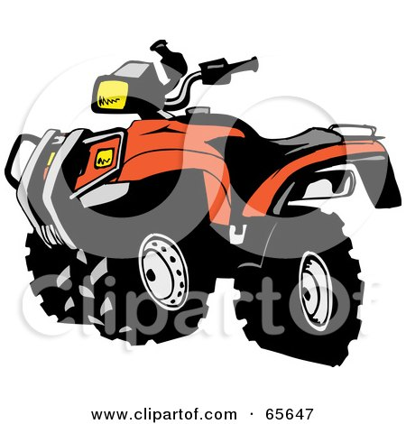 royalty free rf clipart illustration of a black and orange atv by rh clipartof com atv clip art black and white atv clip art images