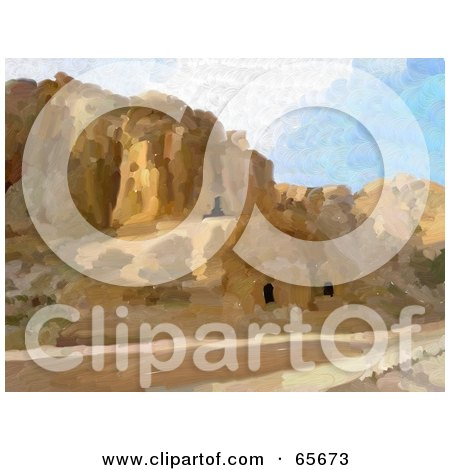 Royalty-Free (RF) Clipart Illustration of a Background Of Petra, Jordan by Prawny