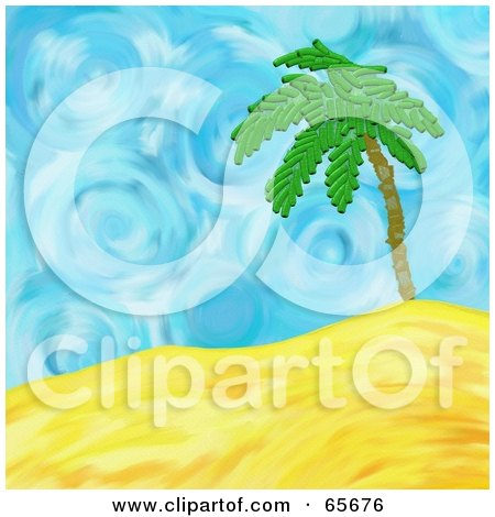 Royalty-Free (RF) Clipart Illustration of a Background Of A Palm Tree Over Sandy Hills In Front Of A Swirly Sky by Prawny