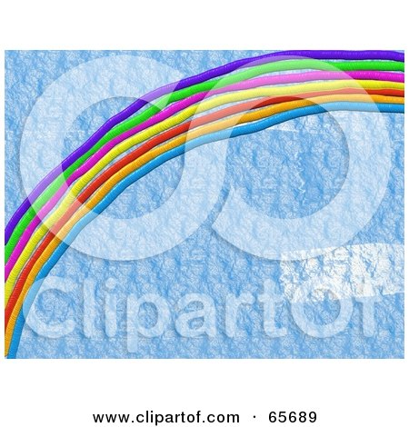 Royalty-Free (RF) Clipart Illustration of a Background Of A Rainbow Over Blue Texture by Prawny