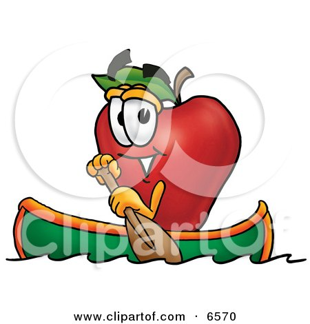 Red Apple Character Mascot Rowing a Boat Clipart Picture by Toons4Biz