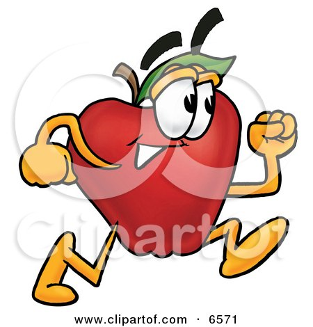 Red Apple Character Mascot Running in a Hurry Clipart Picture by Toons4Biz