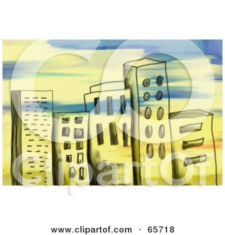 Royalty-Free (RF) Clipart Illustration of a Background Of Grungy City Buildings With Paint Strokes by Prawny