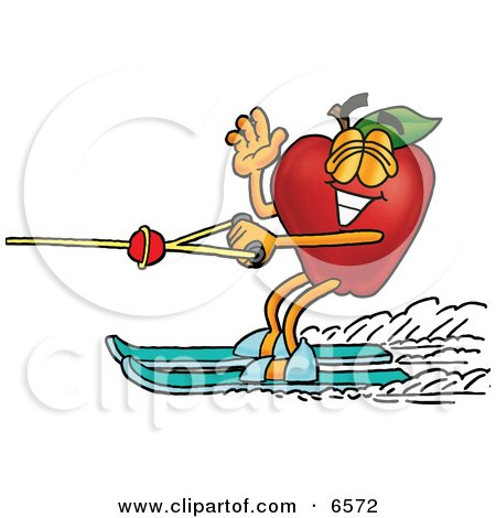 Red Apple Character Mascot Waving and Water Skiing Clipart Picture by Toons4Biz