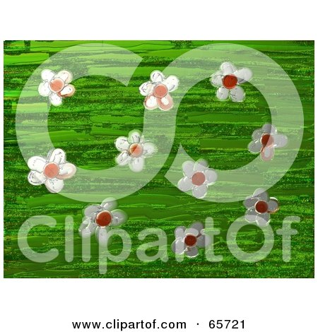 Royalty-Free (RF) Clipart Illustration of a Background Of Daisy Flowers Over Green by Prawny