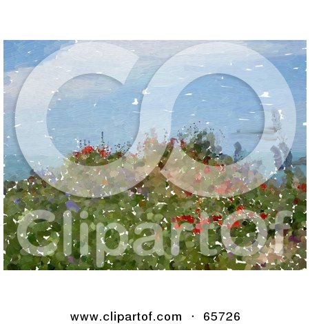 Royalty-Free (RF) Clipart Illustration of a Background Of Watercolor Painted Coastal Wildflowers by Prawny
