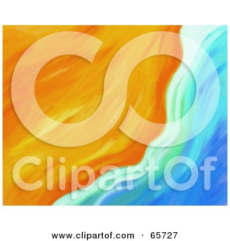 Royalty-Free (RF) Clipart Illustration of an Abstract Beach Background Of Sand And Water - Version 2 by Prawny
