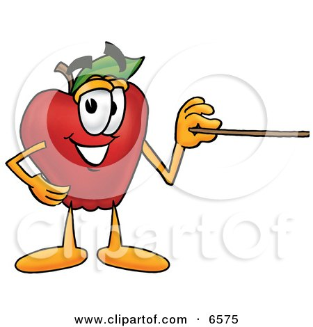Red Apple Character Mascot Using a Pointer Stick Clipart Picture by Toons4Biz