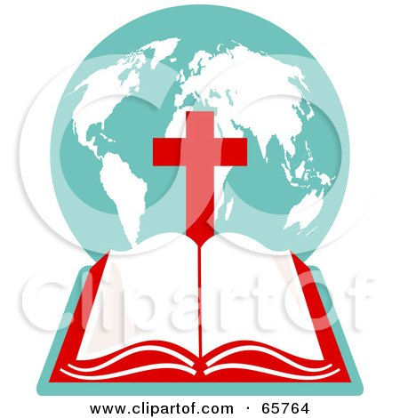 Royalty-Free (RF) Clipart Illustration of an Open Holy Bible With A Globe And Red Cross by Prawny