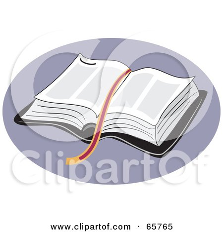 Royalty-Free (RF) Clipart Illustration of a Ribbon Resting On An Open Holy Bible Over Purple by Prawny