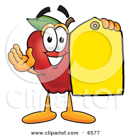 Red Apple Character Mascot Holding a Blank Yellow Price Tag For a Sale Clipart Picture by Toons4Biz