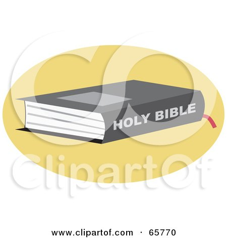 Royalty-Free (RF) Clipart Illustration of a Holy Bible On A Yellow Circle by Prawny