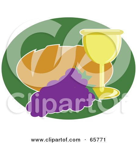 Royalty-Free (RF) Clipart Illustration of a Loaf Of Bread With Grapes And Wine by Prawny