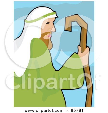 Free (RF) Clipart Illustration of a Profiled Shepherd Holding His Cane