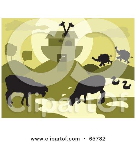 Royalty-Free (RF) Clipart Illustration of Grazing Animals Near Noahs Ark - Green Tones by Prawny