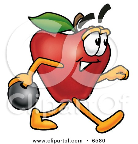 Red Apple Character Mascot Holding a Bowling Ball Clipart Picture by Toons4Biz