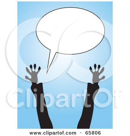 Royalty-Free (RF) Clipart Illustration of Excited Silhouetted Arms Reaching Up To A Blank Text Balloon by Prawny