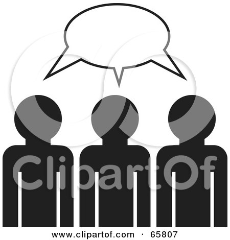 Royalty-Free (RF) Clipart Illustration of Three Black And White Management Members Brainstorming by Prawny
