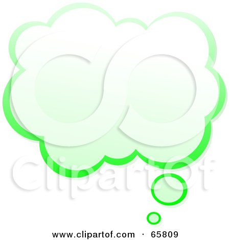 Royalty-Free (RF) Clipart Illustration of a Cloud Shaped Green Thought Bubble by Prawny
