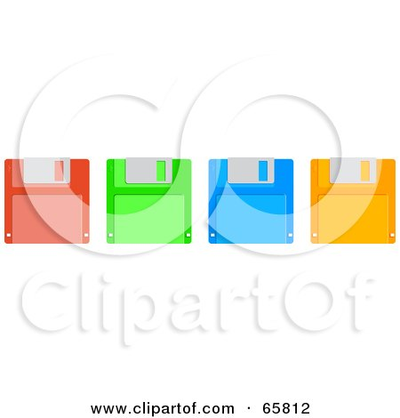 Royalty-Free (RF) Clipart Illustration of a Row Of Red, Green, Blue And Orange Floppy Disks by Prawny