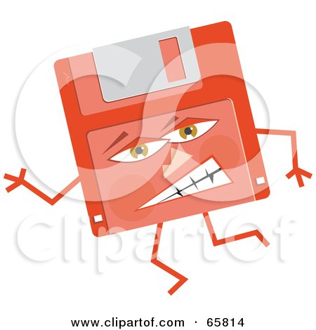 Royalty-Free (RF) Clipart Illustration of a Mad Red Floppy Disc by Prawny