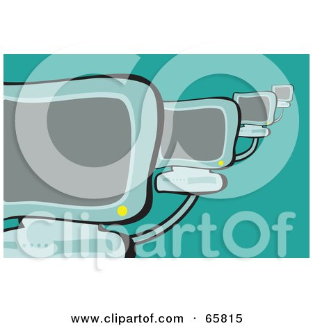 Royalty-Free (RF) Clipart Illustration of Networked Desktop Computers On Green by Prawny