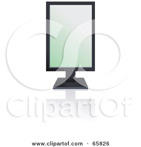 Royalty-Free (RF) Clipart Illustration of a Black Modern Tilt Computer Monitor With The Screen Sideways by Prawny