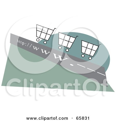 Royalty-Free (RF) Clipart Illustration of Shopping Carts On A WWW Roadway, by Prawny
